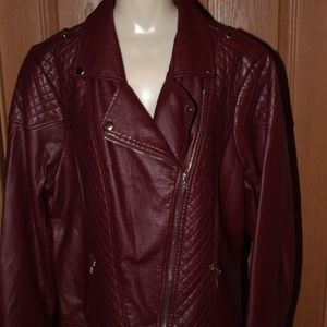 Burgundy Quilted Look Faux Leather Jacket 3X BNWOT